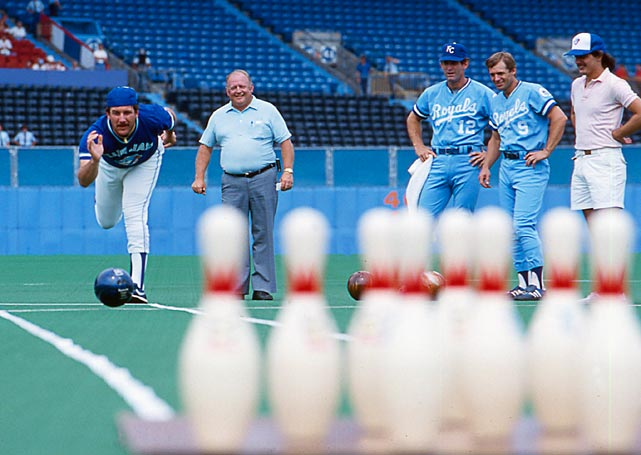 Bill Caudill shows off his bowling skills before a 1985 Blue Jays-Royals game. Later that year, the Royals would go on to win their first World Series in franchise history.