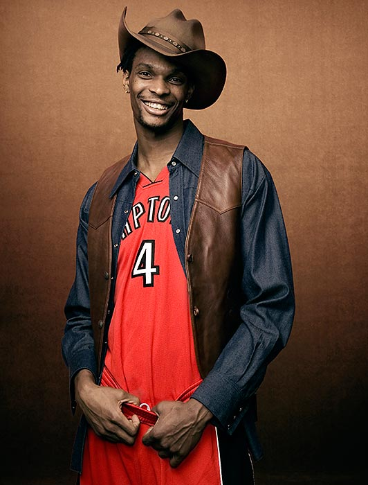 There aren't a lot of cowboys in Toronto, but Texas native Chris Bosh sticks to his roots during this 2008 SI photo shoot.