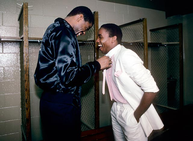 Fresh off shooting a scene for Miami Vice, Pistons point guard Isiah Thomas shares a laugh with Magic Johnson during the 1984-85 season. Johnson would lead the Lakers to an NBA championship later that year, while Thomas would win his first title in 1989.