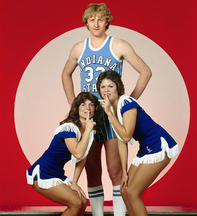 "Before the ""Hick from French Lick"" evolved into the Great White Hope, Larry Bird spent a three-year stint with the Indiana State Sycamores, apparently making quite an impression on the ladies -- or so this 1977 photo would suggest."