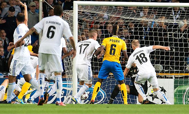 Nicolai Jorgensen (18) scored a surprising opener for Copenhagen against Juventus on Tuesday.