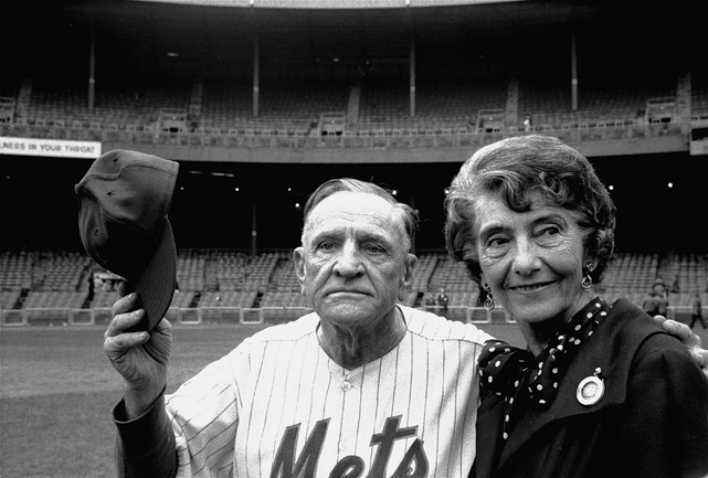 "On Sept. 18, 1963, New York Mets manager Casey Stengel waves goodbye to the Polo Grounds as he leaves with his wife, Edna, after the Phillies beat the Mets 5-1 in the final game at the ballpark. 50 years later, SI.com takes a look at the classic old ballpark. While it didn't feature any bells and whistles like many modern parks today, the Polo Grounds was home to many historic moments, including Bobby Thomson's pennant-winning ""Shot Heard `Round the World"" in 1951 and Willie Mays' iconic over-the-shoulder catch in the 1954 World Series. The stadium was demolished in 1964, one year after the Mets last played there and seven years after the Giants moved to San Francisco."