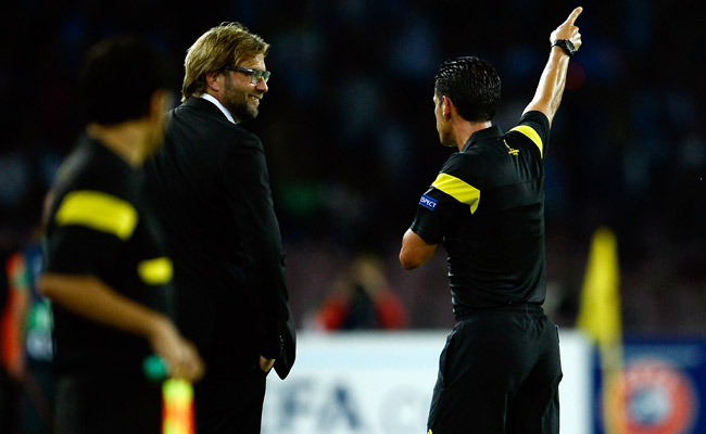 Dortmund manager Jurgen Klopp was sent off after arguing with the fourth referee in the first half.