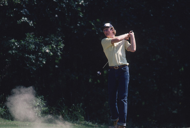 Dress code be damned! Larry Bird enjoys a day off at the golf course.