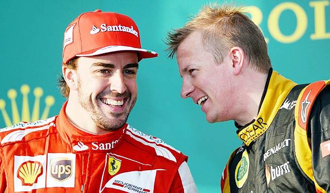 Fernando Alonso (left) gave his blessing to Ferrari's signing of Kimi Raikkonen (right).