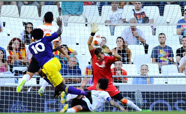 Swansea's Wilfried Bony (10) scored the first of Swansea's three goals against Valencia.