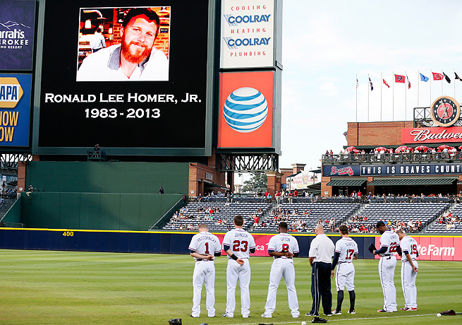 The Braves honored Ronald Lee Homer, Jr. before a game against the Phillies in August.