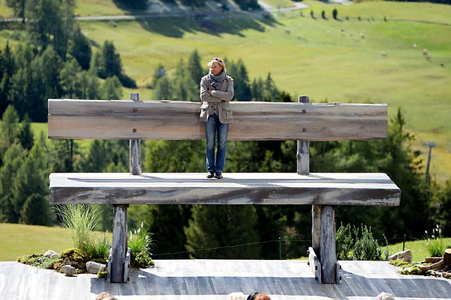 Getting benched can make you feel this big, as the former Alpine skier turned singer-actress-entertainer can attest during the recording of everyone's favorite TV Show <italics>ZDF Fernsehgarten</italics> in Kastelruth, Italy.