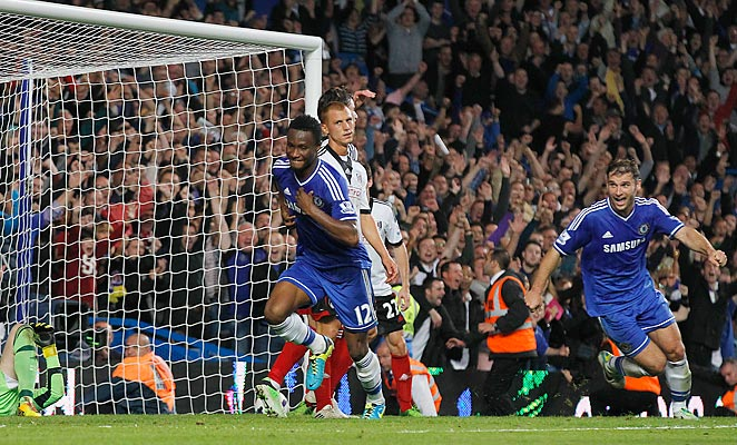 John Obi Mikel scored his first-ever goal in the English Premier League on Saturday.