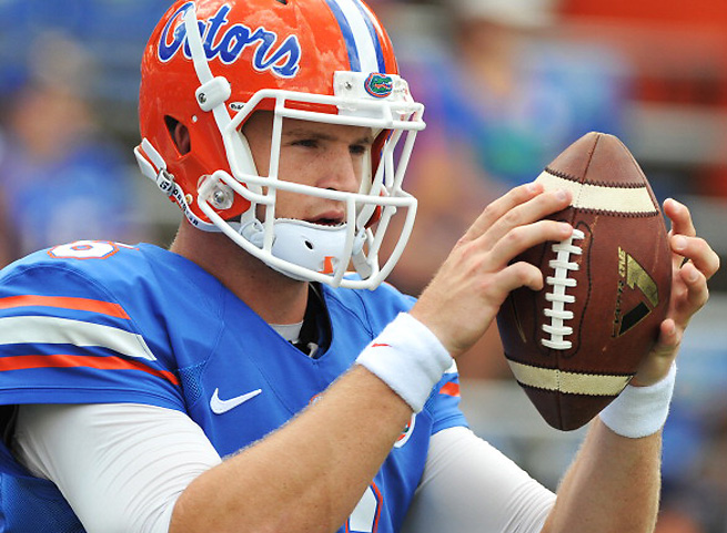 Florida QB Jeff Driskel left the game on crutches after injuring his ankle in the first quarter.