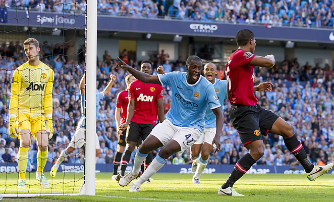 Yaya Toure scored the winning goal for Manchester City in first half injury time.