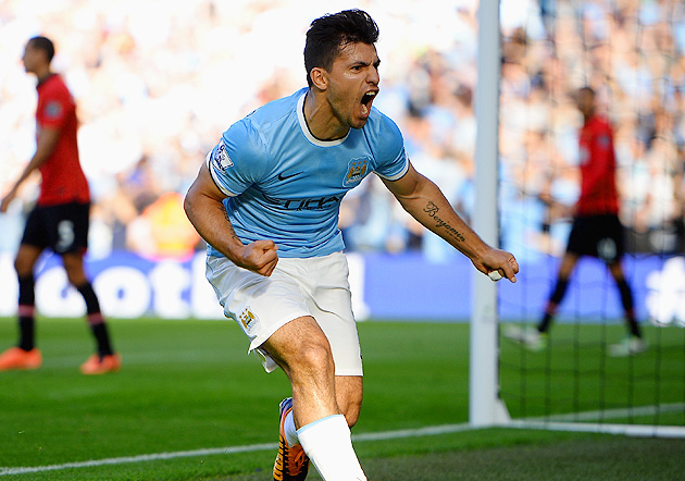 Sergio Aguero scored the first of Man City's four goals as they drubbed Man U Sunday.