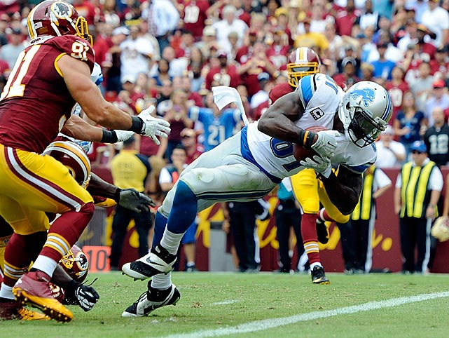 Calvin Johnson spun his way into the end zone for this TD against the Redskins as the Lions ended an 0-22 winless streak in games played in D.C.