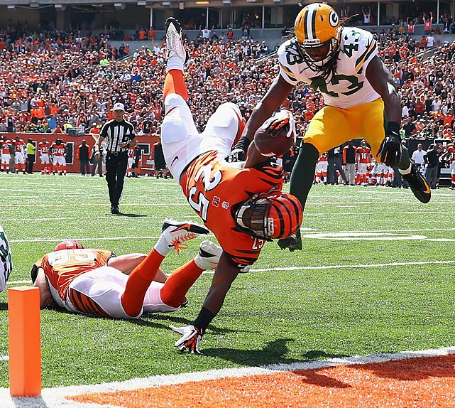 Bengals rookie Giovani Bernard made an acrobatic leap into the end zone to get the Bengals on the board in their upset victory over Green Bay.