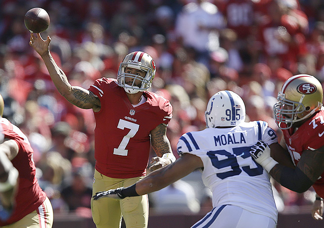 Colin Kaepernick (7) was handcuffed for 170 total yards by an opportunistic Indianapolis defense.