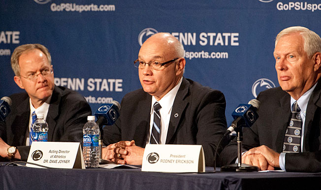 PSU AD Dave Joyner (center), pictured here in 2012, said 'it's a very important day for us at Penn State.'