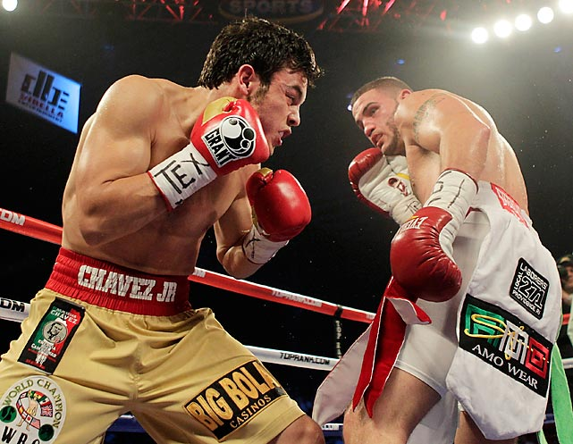 Chávez Jr. bounced back quickly from the Rowland debacle. Still fighting at 160, he scored an impressive victory over highly-touted John Duddy in June 2010 and then captured his first world title the following year, taking the WBC middleweight crown from Sebastian Zbik of Germany. Chávez made his first defense (left) against Peter Manfredo Jr., who'd made his name on the reality show <italics>The Contender</italics>. Playing the part in real life, Manfredo tried to outwork Chávez but found himself outgunned instead, as the young champion won by fifth-round TKO.