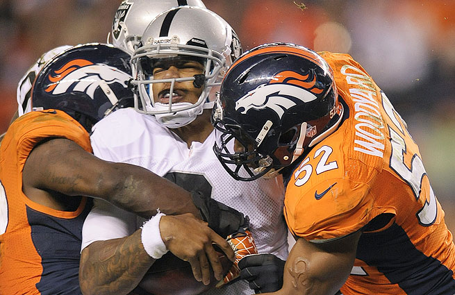 Terrelle Pryor had the best passing day of his career against Denver before being sidelined with a concussion.