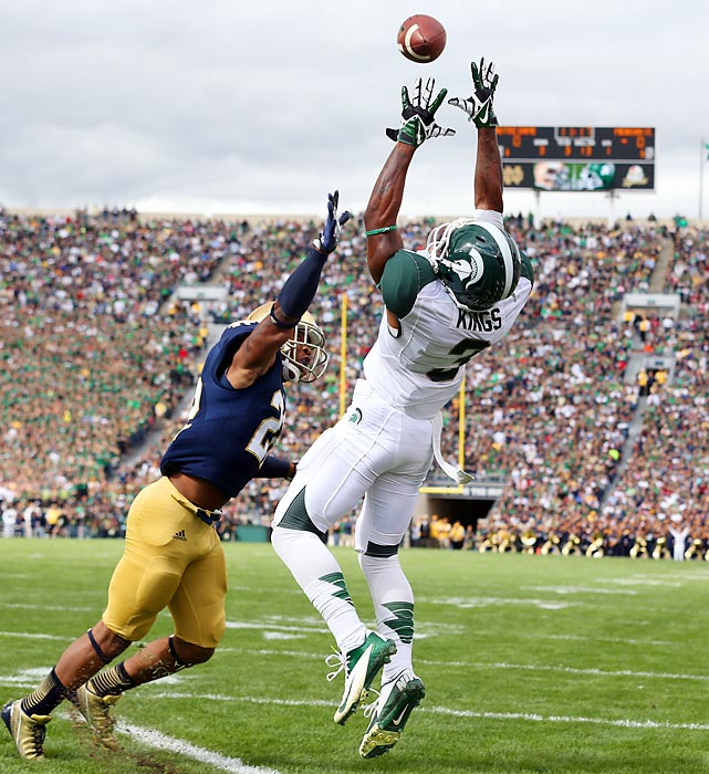 Michigan State wide receiver Macgarrett Kings Jr. leaps for an overthrown ball. Kings Jr. finished with five catches for 37 yards and a score, but it wasn't enough, as the Spartans lost 17-13 to Notre Dame.