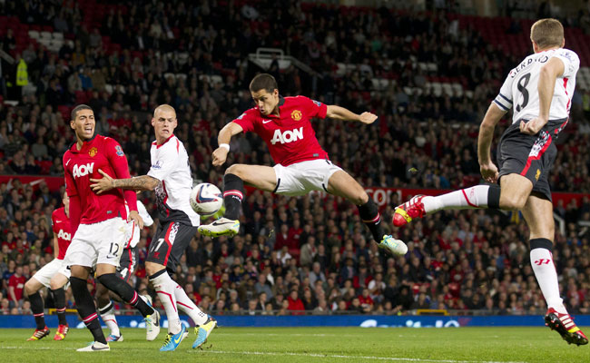 Javier Hernandez gave Manchester United the lead against Liverpool early in the second half.