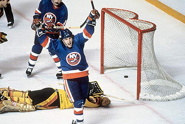 "From 1977 to 1986, the Islanders' sniper, considered by many to be the best pure goal scorer in NHL history, completed the remarkable feat of netting 50 in each of nine consecutive seasons. His streak brought him two Rocket Richard trophies -- 69 goals in 1978-79; 69 in 1980-81 -- and ended in his final season, when he scored ""only"" 38 in 63 games while limited by a chronic back injury."