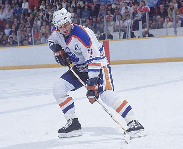 The 1985-86 season was a great one for the Oilers blueliner. He totaled 138 points and won the Norris Trophy as the league's best defenseman. Coffey's biggest achievement that season, though, was the 28 straight games in which he registered a point, the longest such streak ever recorded by a D-man.