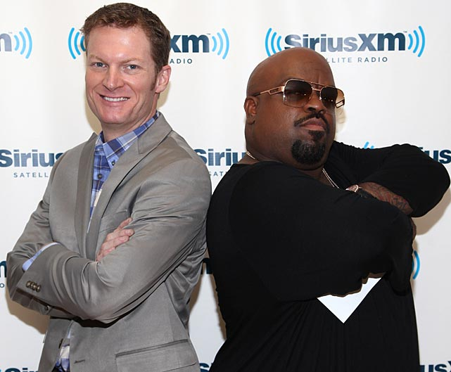 Earnhardt Jr. and Cee Lo Green pose during a visit at SiriusXM Studios in New York City.