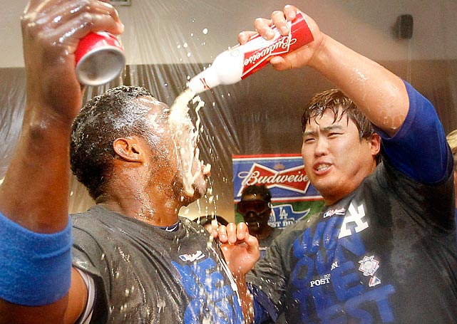 Welcome to another installment of <italics>Did You See That?, </italics>the gallery where something offbeat is always brewing.<italics> </italics>Here we have the Dodgers getting a faceful of suds after a long, hard season bagging the NL West title.