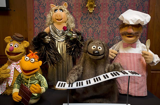 Fozzie Bear, Scooter, Miss Piggy, Rowlf and the Swedish Chef, recently donated to the Smithsonian's National Museum of American History in Washington, DC, react to the news of the big government shutdown.