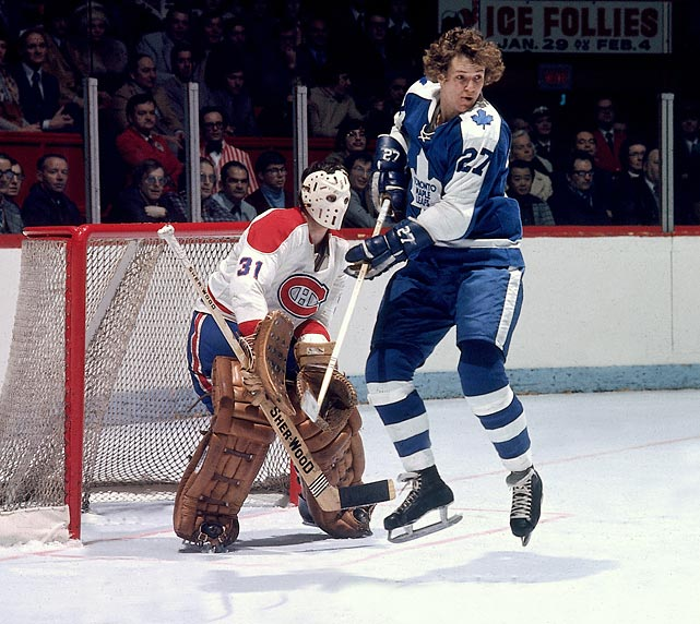 The Maple Leafs' Darryl Sittler screens Canadiens goalie Michel Larocque in the late 1970s.