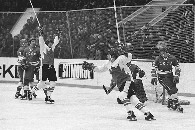 Paul Henderson and Bobby Clarke (left) of Team Canada celebrate Henderson's series-winning goal in Game 8 of the 1972 Summit Series between Canada and the Soviet Union at the Luzhniki Ice Palace in Moscow on Sept. 28, 1972.