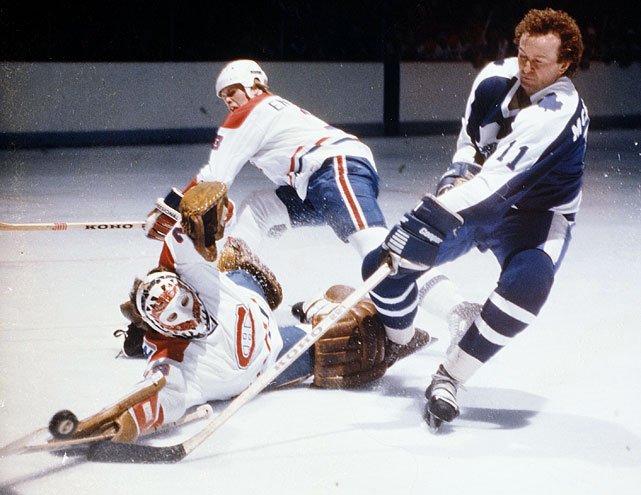 Canadiens goalie Ken Dryden and teammate Brian Engblom defend the net against the Maple Leafs' Walt McKechnie during a game in 1978-79 at the Montreal Forum.