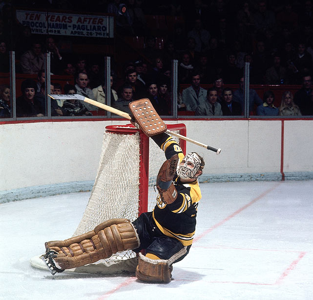 Bruins goalie Gerry Cheevers keeps his eyes on the puck in a game against the Montreal Canadiens in the late 1970s.