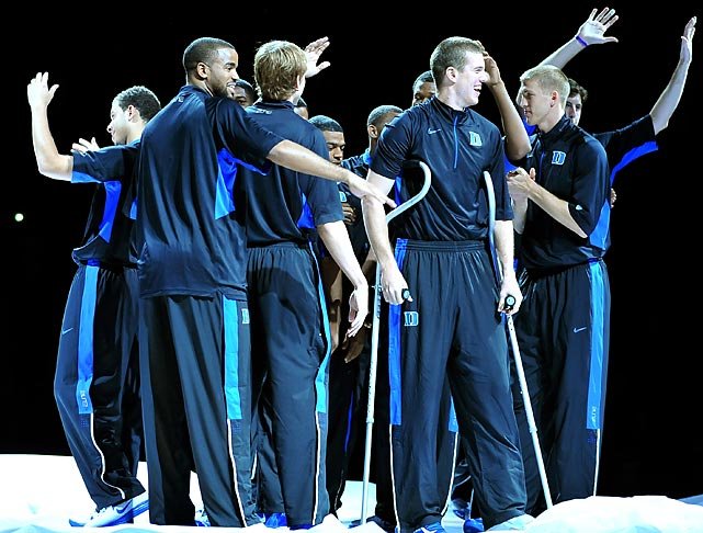 Duke players are introduced during the 2012 Countdown to Craziness at Cameron Indoor Stadium.