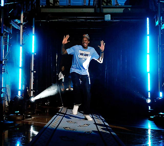 UNC's John Henson is introduced during Late Night with Roy in 2011 at the Dean Smith Center.