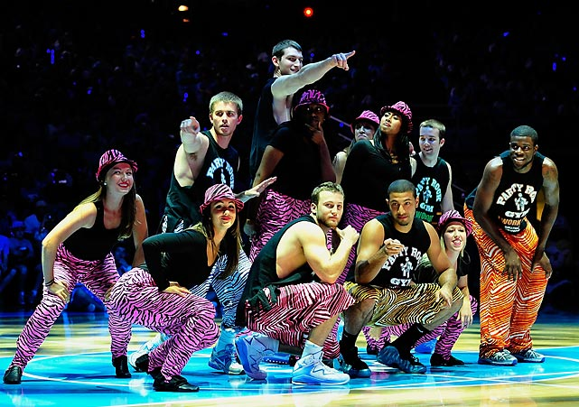 North Carolina players perform a skit during Late Night with Roy, at the Dean Smith Center in 2011.