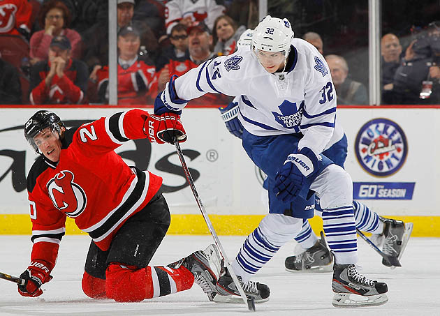 The 23-year-old Colborne (right) had a goal and five assists in 16 career games for the Maple Leafs.