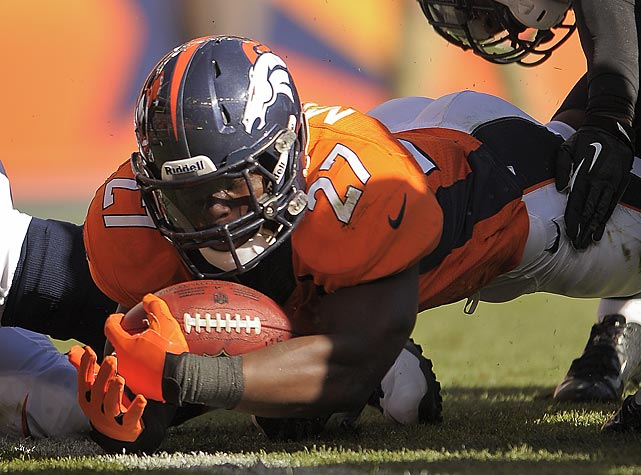 Peyton Manning isn't the only game in town in Denver. Knowshon Moreno got in on the scoring by stretching this ball across the goal line for a touchdown against the Eagles.