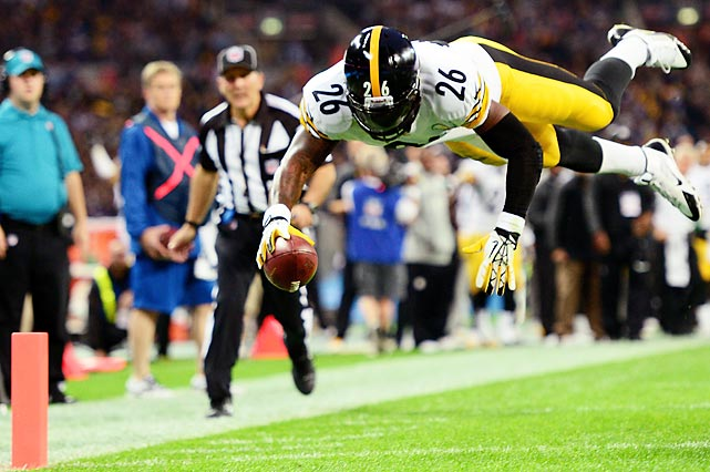 Le'Veon Bell announced his arrival in the NFL by diving into the end zone to score a touchdown in London. He scored two in his first game with the Steelers.