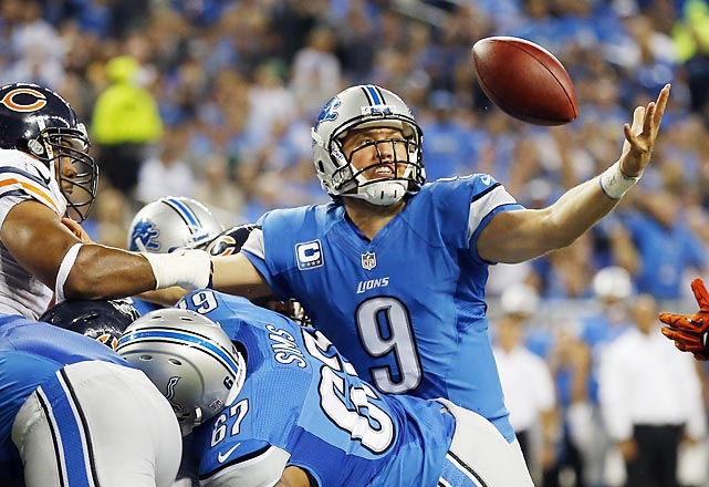 The NFL is in its third season of reviewing every scoring play. Here are some of the more interesting ones from Week 4, beginning with Matthew Stafford, who lost the handle on this ball when he tried to dive across from one yard out. Luckily for Detroit, he retrieved it in midair and fell forward for his first rushing TD of the year.