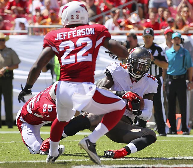 Buccaneers wideout Mike Williams got between Arizona cornerback Jerraud Powers and safety Tony Jefferson right at the goal line for an eight-yard TD that stood up under review.