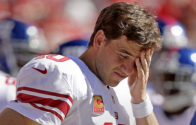 Eli Manning has thrown more interceptions than touchdowns this season and has lost two fumbles.