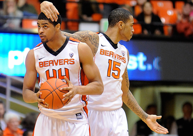 Eric Moreland (right) and Devon Collier were both big contributes for the Beavers last season.