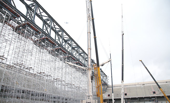 Arena da Baixada construction was about 80 percent complete before the judge-ordered work stoppage.