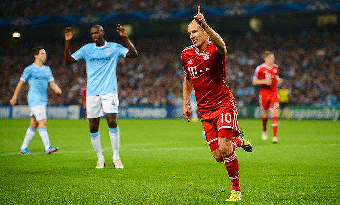 Arjen Robben scored a goal in Bayern Munich's dominating 3-1 win over Manchester City.