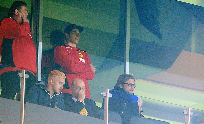 Juergen Klopp watched Borussia Dortmund's 3-0 win over Marseille on Tuesday from the stands.