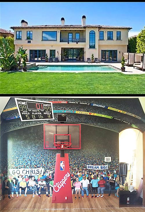 After getting traded to the Clippers, Chris Paul bought this Bel-Air mansion, previously owned by pop star Avril Lavigne. Recently, he renovated his son's bedroom to resemble the Staples Center.