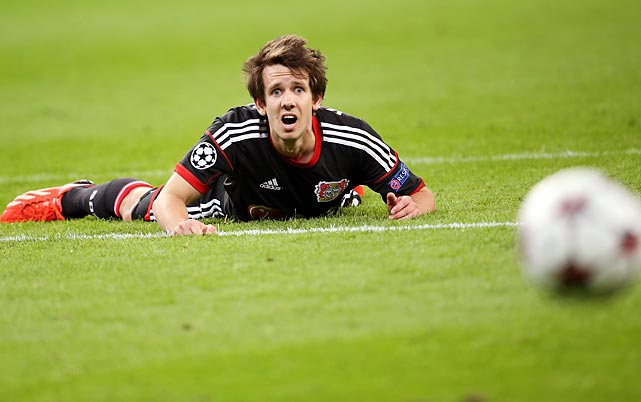 Embroiled in Gropu A match against Real Sociedad de Futbol, Robbie Kruse of Bayer Leverkusen reacts to the news that we've reached the end of this week's gallery.