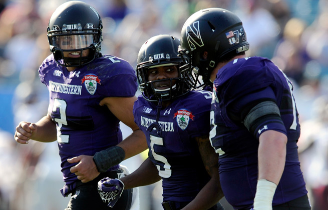 Can running back Venric Mark (5) lead Northwestern to an upset of Ohio State in his return from injury?