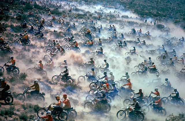 Motorcyclists compete in the Mint 400 Motocross endurance race through the Mojave Desert, Nevada, in September 1971. Journalist Hunter S. Thompson, contracted to write an article on the race for <italics>Sports Illustrated</italics>, turned his coverage into the novel <italics>Fear and Loathing in Las Vegas</italics>.